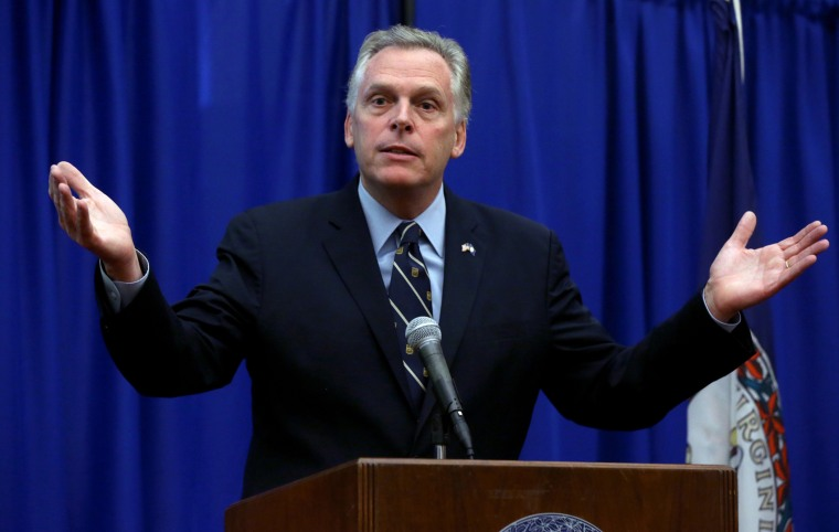 Virginia Governor Terry McAuliffe during a news conference at the Patrick Henry Building in Richmond, Va.,  Monday, March 24, 2014.