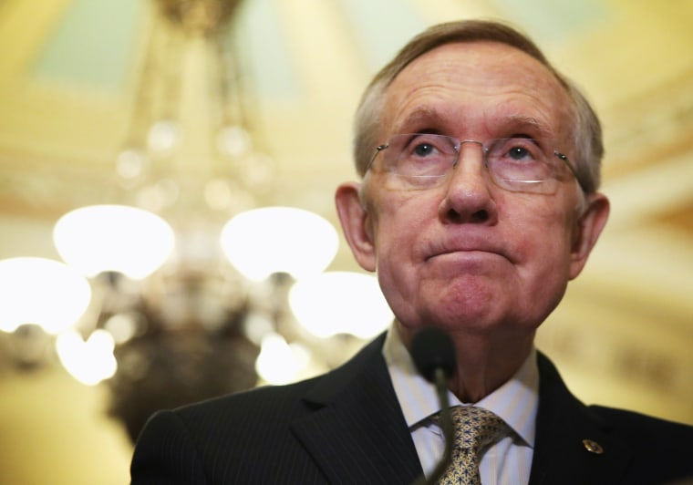 Senate Majority Leader Sen. Harry Reid (D-NV) during a briefing March 25, 2014 at the Capitol in Washington, D.C.