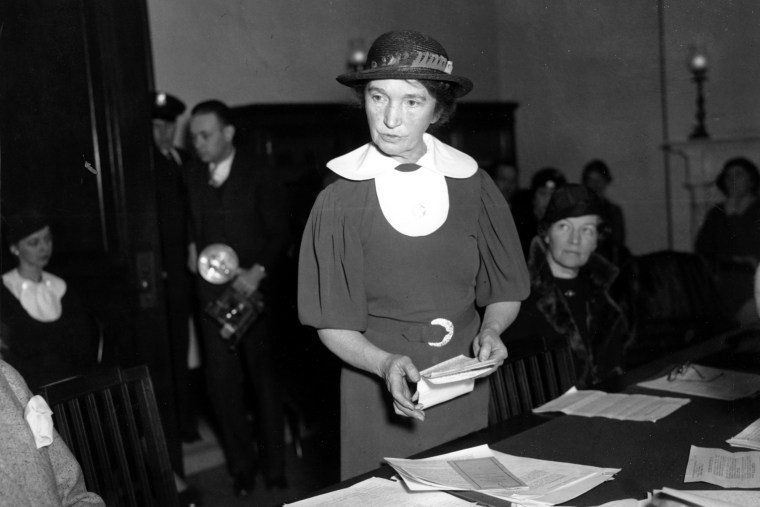 Margaret Sanger, who founded the American Birth Control League in 1921, appeals before a Senate Committee for federal birth-control legislation in Washington, D.C. on March 1, 1934.
