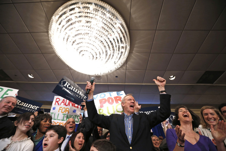 Republican candidate for Illinois Governor Bruce Rauner celebrates with supporters after winning the nomination in the Illinois Primary in Chicago, March 18, 2014.