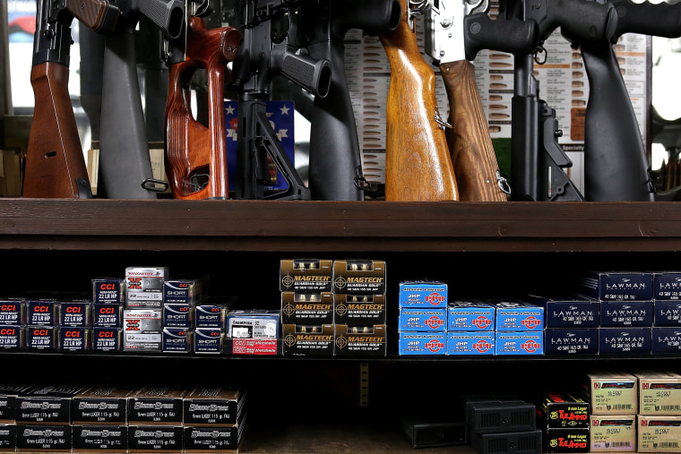 Boxes of ammunition sit on the shelf at Sportsmans Arms on April 2, 2013 in Petaluma, Calif.