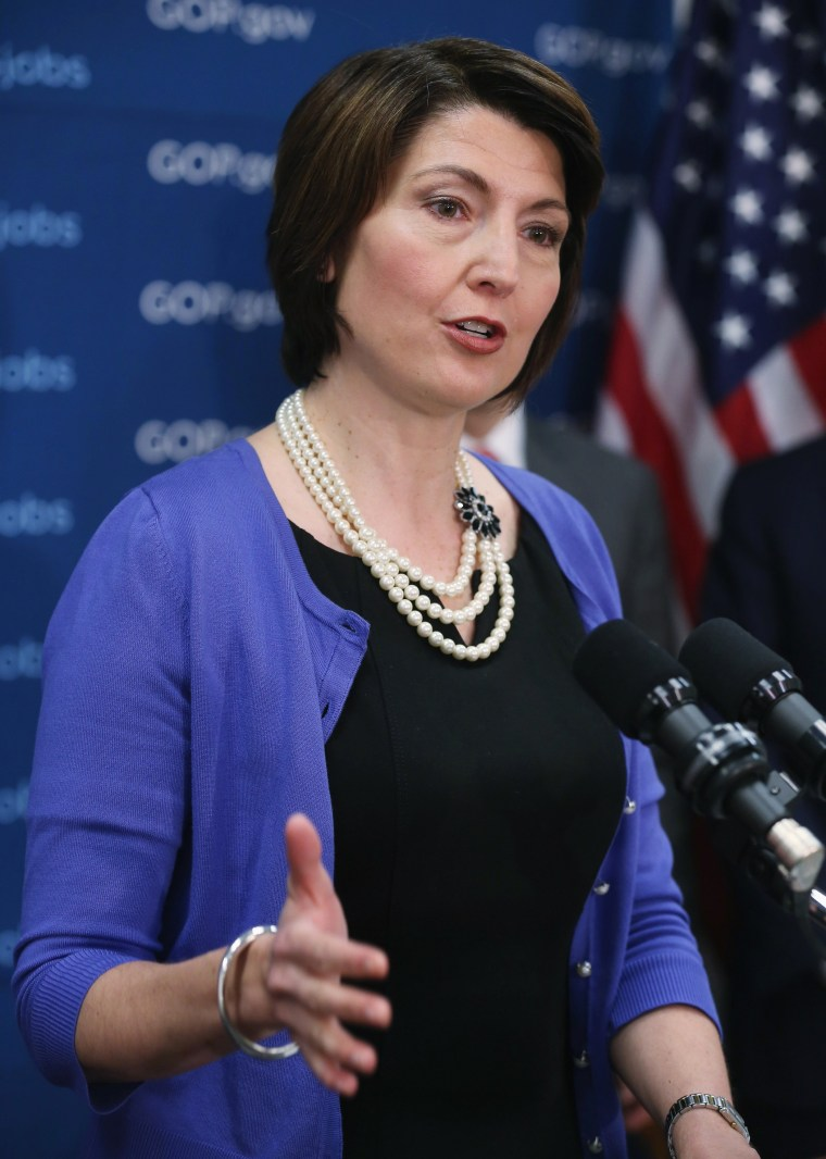 Rep. Cathy McMorris Rodgers (R-WA) speaks to the media at the U.S. Capitol March 25, 2014 in Washington, D.C.