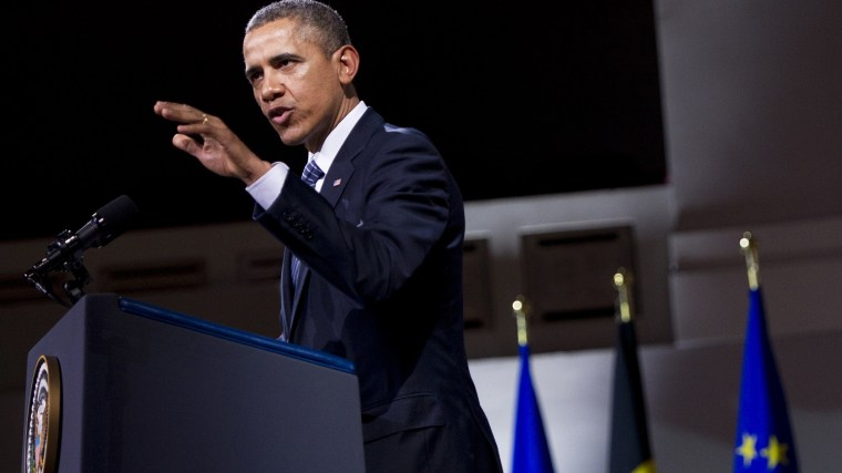 President Barack Obama delivers a speech at the Palais des Beaux-Arts (Palace of Fine Arts - BOZAR) in Brussels on March 26, 2014.