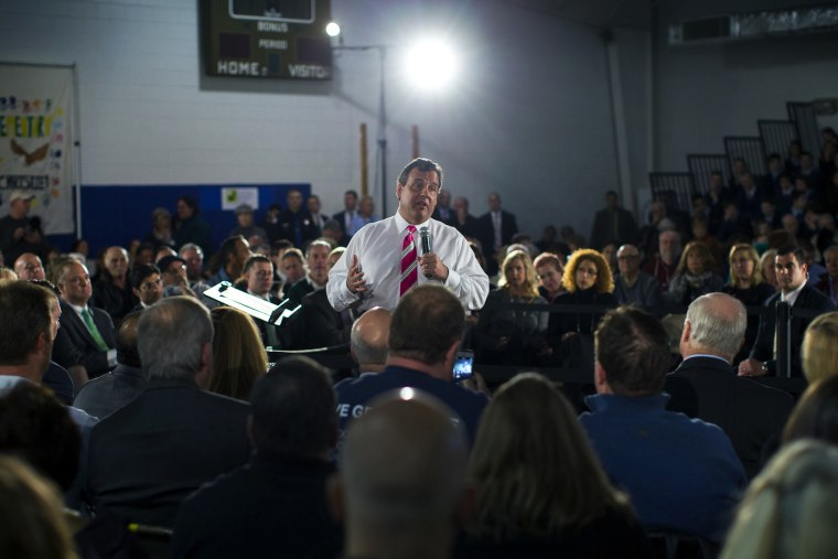 New Jersey Governor Chris Christie speaks to local residents of Belmar, New Jersey, and other shore towns in Monmouth County
