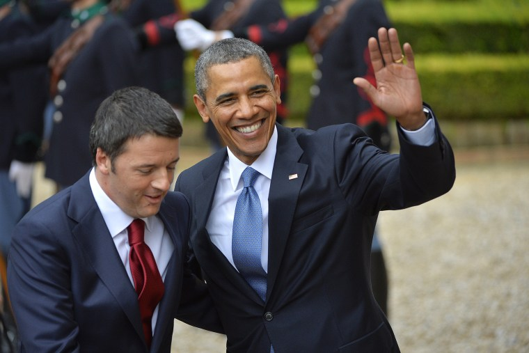 President Barack Obama (R) is welcomed by Italian Prime Minister Matteo Renzi prior a meeting at the Villa Madama on March 27, 2014 in Rome.