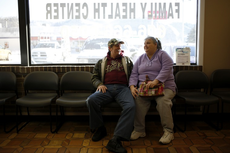 Doug and Mary Blair wait for appointment at the Breathitt County Family Health Center on Jan. 21, 2014 in Jackson, Ky.