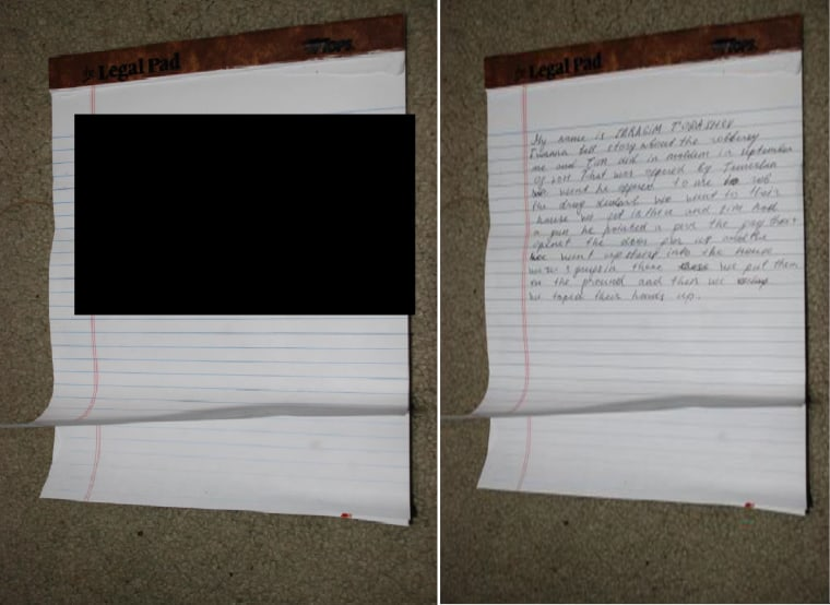 Redacted and unredacted photos of the confession law enforcement agents say Ibragim Todashev was writing before he was killed in an altercation with the FBI.
