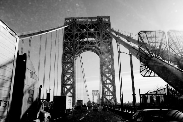 Morning rush hour on the George Washington Bridge.