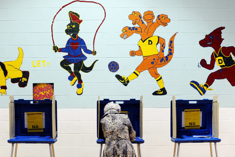A voter casts her ballot in the gymnasium of Douglas Elementary School on Nov. 6,  2012 in Raleigh, N.C
