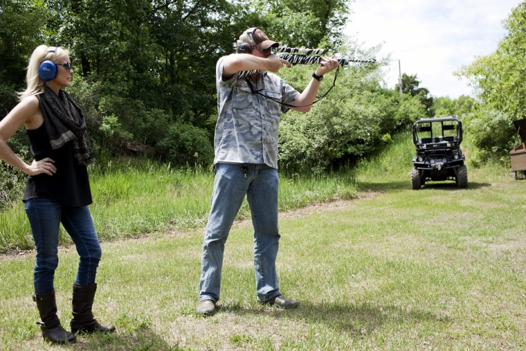 Ted Nugent and his wife Shemane shoot guns on their 1,200 acre ranch, June 6, 2013, in Concord, Mich.
