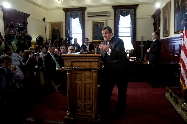 New Jersey Governor Chris Christie holds a news conference on March 28, 2014 at the New Jersey State House in Trenton.