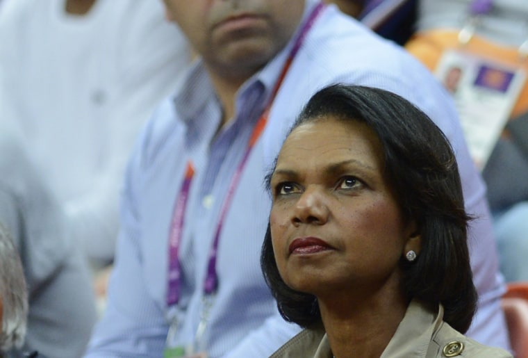 Former Secretary of State Condoleeza Rice at the Basketball Arena on August 6, 2012 in London.