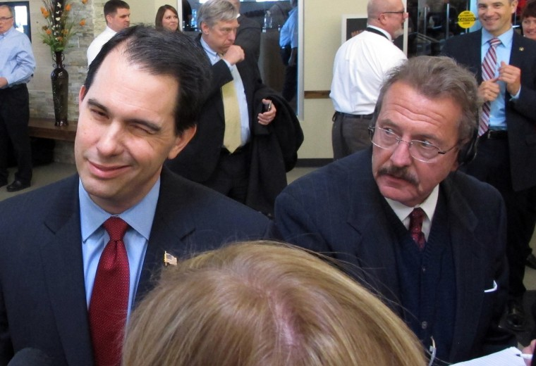 Wisconsin Republican Gov. Scott Walker on Tuesday, Feb. 25, 2014, in Fitchburg, Wis.