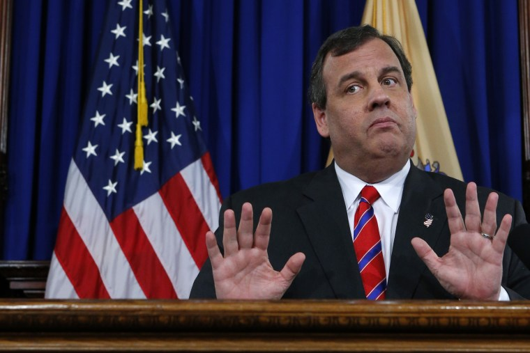 New Jersey Governor Chris Christie during a news conference in Trenton, New Jersey March 28, 2014.