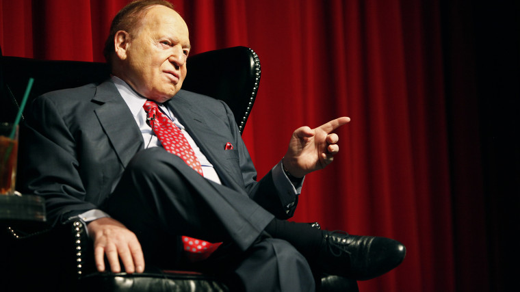 Las Vegas Sands Corporation Chairman Sheldon Adelson speaks to students at the University of Las Vegas, Nevada in Las Vegas, April 26, 2012.