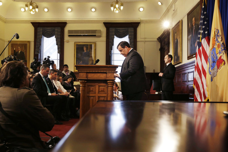 New Jersey Gov. Chris Christie pauses before he answers a question during a news conference about the lane closures near the George Washington Bridge, March 28, 2014, in Trenton, N.J.