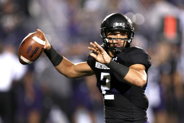 Northwestern quarterback Kain Colter during the first half of an NCAA football game against Ohio State Saturday, Oct. 5, 2013, in Evanston, Ill.