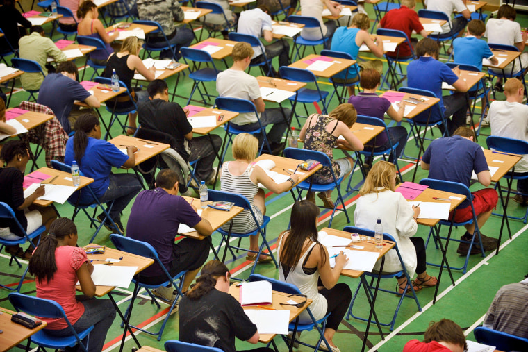 Students take an exam.