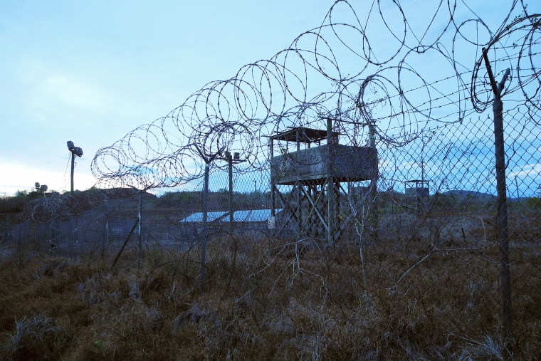 An abandoned camp and tower at the US Naval Base in Guantanamo Bay, Cuba on August 8, 2013.