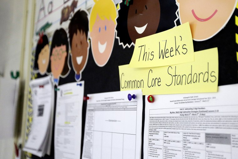 Common Core standards are posted on a bulletin board in a classroom.