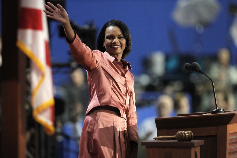 Former U.S. Secretary of State Condoleezza Rice waves as she arrives to address the third session of the 2012 Republican National Convention in Tampa, Fla. on Aug. 29, 2012.