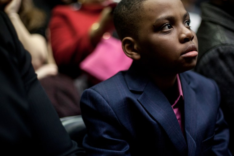 Kwasy Ahama sits before a performance of his plays at the Stella Adler Studio for Acting in New York City on March 26, 2014.