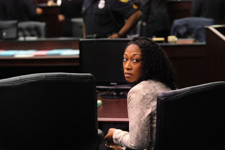 Marissa Alexander looks back to the gallery in the Duval County Courthouse in Jacksonville, Fla., April 2, 2014.