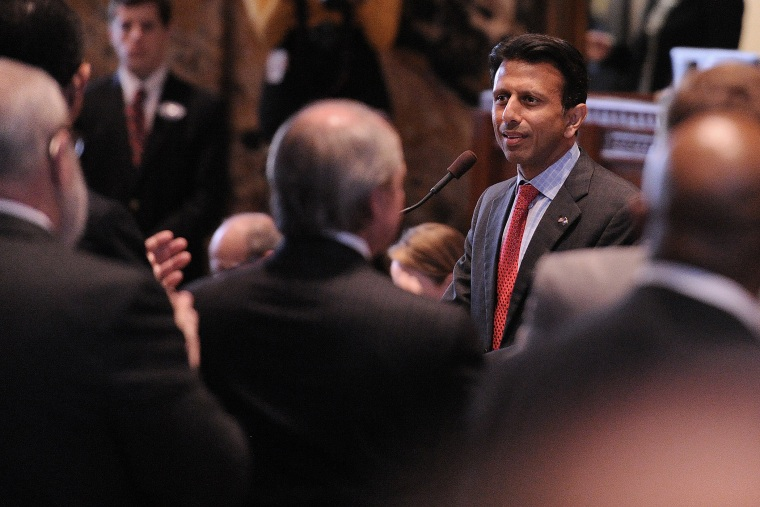 Louisiana Gov. Bobby Jindal speaks during the opening of the state legislature at the state capitol in Baton Rouge, La., on March 10, 2014.