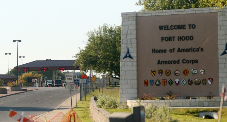 An entrance to Fort Hood Army Base in Fort Hood, Texas.