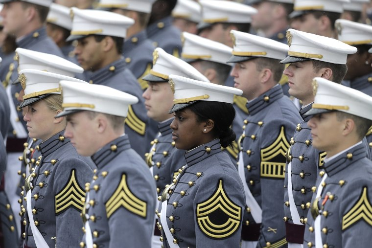 Graduating cadets are seen during a graduation and commissioning ceremony at the U.S. Military Academy on May 25, 2013, in West Point, N.Y.