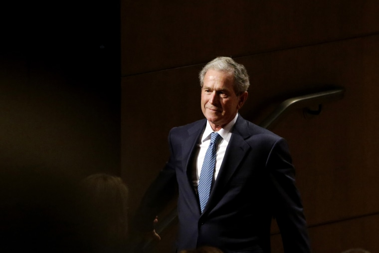 Former President George W. Bush speaks at Southern Methodist University in Dallas, Feb. 19, 2014.