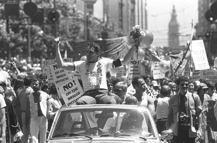 Then San Francisco Supervisor Harvey Milk is seen in San Francisco's seventh annual Gay Freedom parade, June 26, 1978.