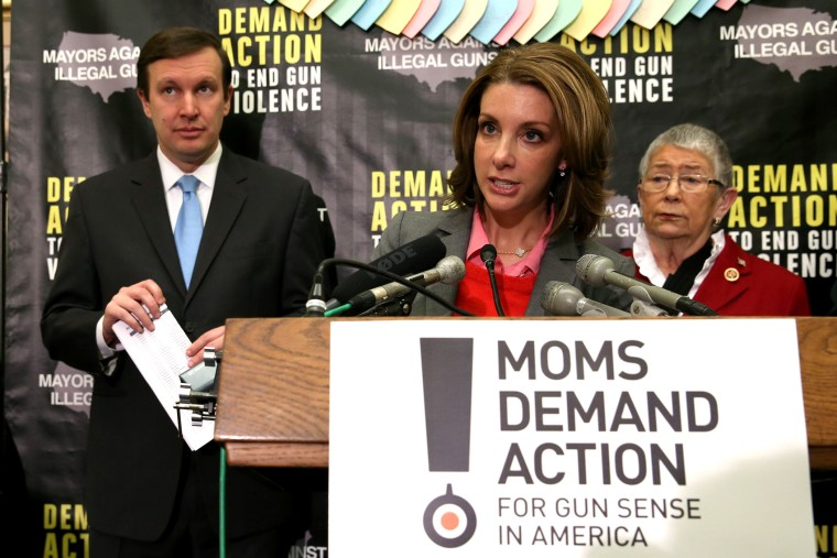 Shannon Watts speaks about gun violence during a news conference on Capitol Hill, on Feb. 12, 2014 in Washington, DC.
