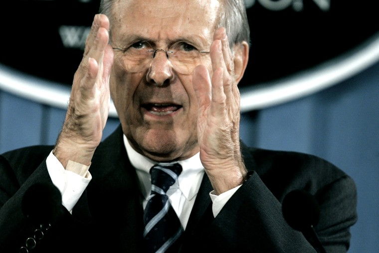 Then-U.S. Secretary of Defense Donald Rumsfeld speaks to reporters in the briefing room at the Pentagon on Oct. 26, 2006 in Arlington, Va.