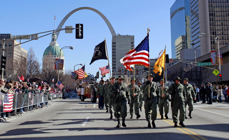 The city of St. Louis held the nation's first big parade to welcome home the troops after the Iraq war, on Jan. 28, 2012.
