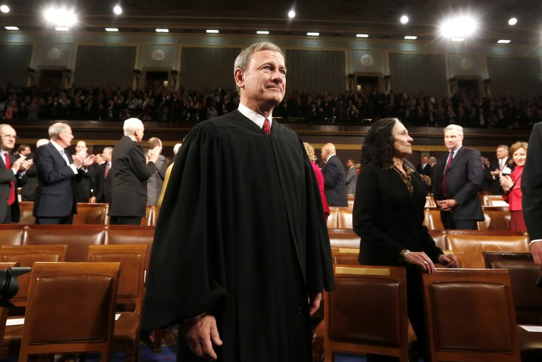 Supreme Court Chief Justice John Roberts arrives prior to President Barack Obama's State of the Union speech on Capitol Hill in Washington, Jan. 28, 2014.