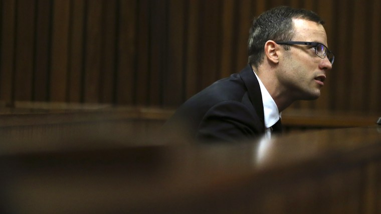 Pistorius looks on during his trial at the high court in Pretoria