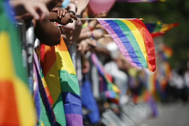Sidewalks are filled with the rainbow flags as revelers celebrate Gay Pride in New York.