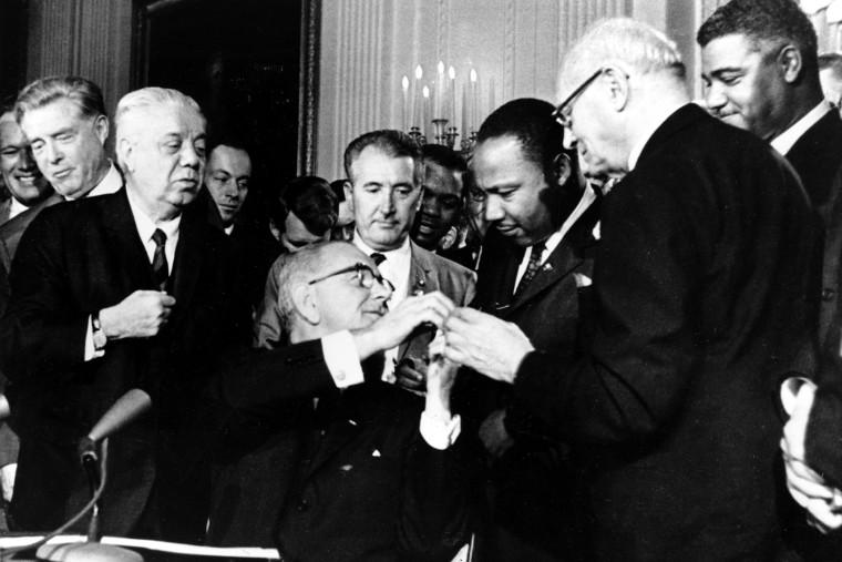 President Lyndon B. Johnson, Dr. Martin Luther King Jr.