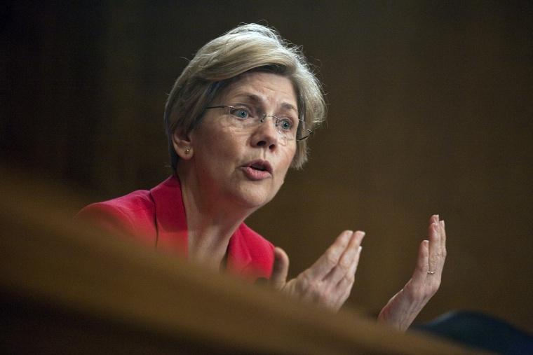 Sen. Elizabeth Warren (D-Mass.) asks questions during a hearing on Capitol Hill.