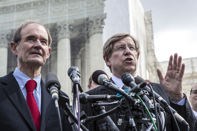 Attorneys David Boies and Ted Olson speak to reporters after arguing their case, outside the U.S. Supreme Court, Mar. 26, 2013.