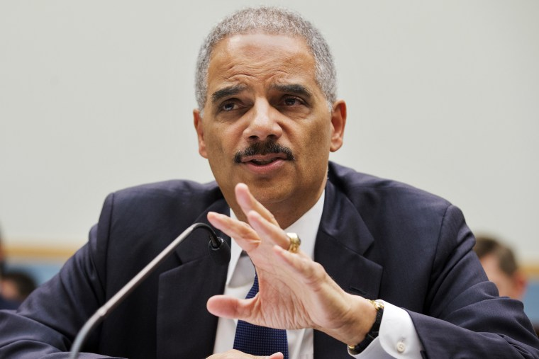 Attorney General Eric Holder testifies on Capitol Hill in Washington, April 8, 2014.