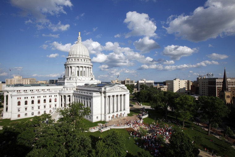 The Wisconsin State Capitol, as seen from a nearby building in Madison, Wis., on June 16, 2011.
