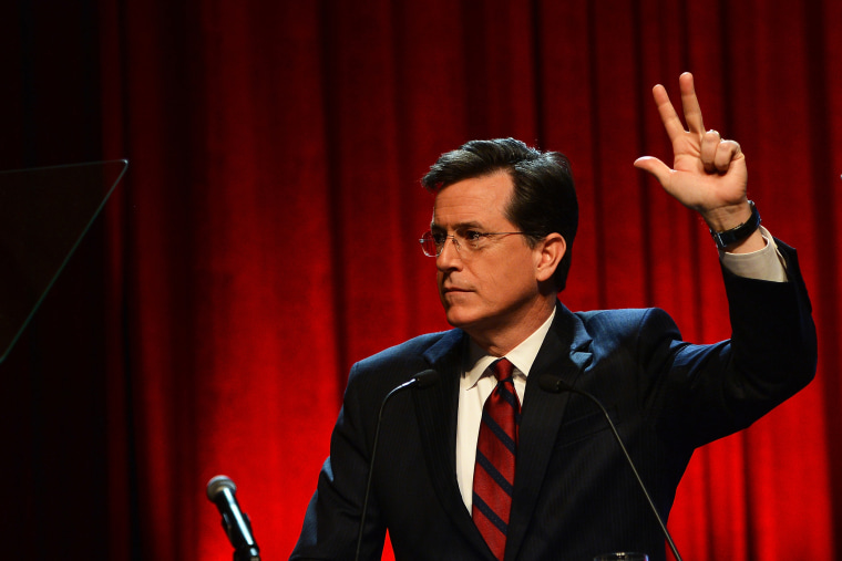 Stephen Colbert speaks onstage at Robert F. Kennedy Center For Justice, Dec. 11, 2013.