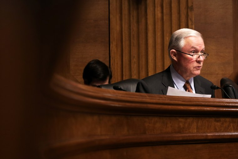 U.S. Sen. Jeff Sessions (R-AL) speaks during a confirmation hearing before the Senate Judiciary Committee, Jan. 8, 2014.