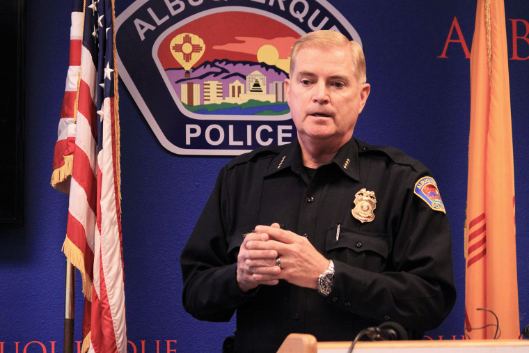 Albuquerque Police Chief Gorden Eden answers questions during a news conference Mar. 31, 2014.