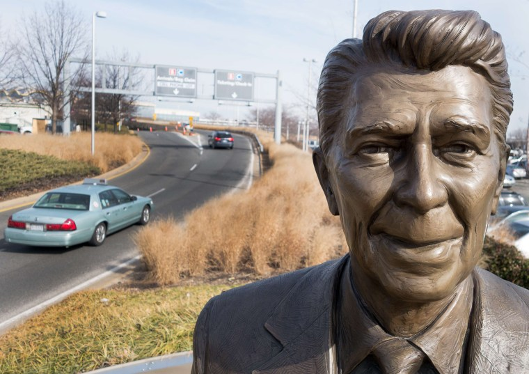 A statue of former President Ronald Reagan is seen February 6, 2014 at the entrance to Ronald Reagan International Airport in Washington, D.C.