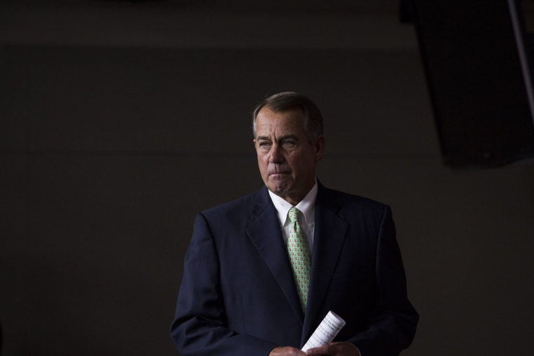 Speaker of the House John Boehner (R-OH) arrives for his weekly news conference on Capitol Hill, April 10, 2014.