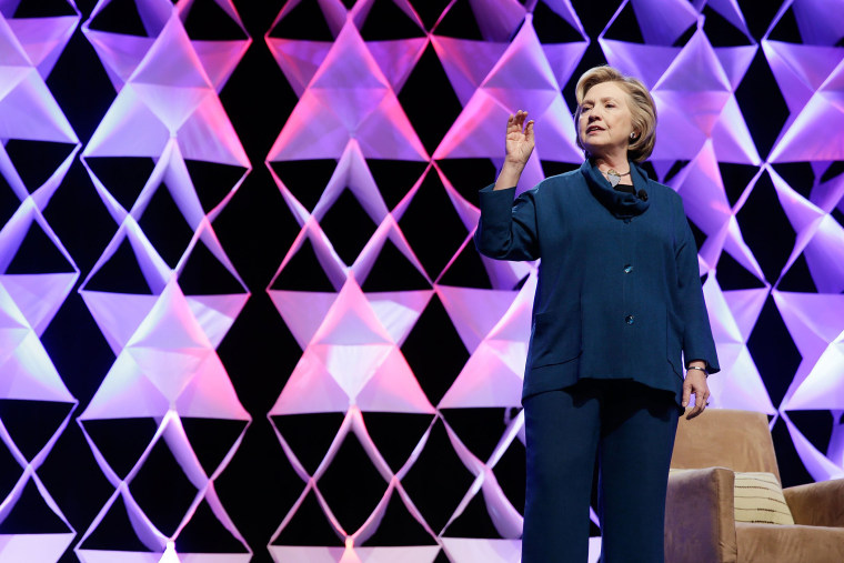 Former Secretary of State Hillary Clinton delivers remarks at the Institute of Scrap Recycling Industries conference in Las Vegas, Nevada on April 10, 2014.