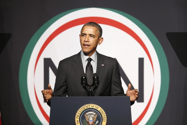 U.S. President Barack Obama addresses the 16th Annual National Action Network Convention at the Sheraton, New York on April 11, 2014.